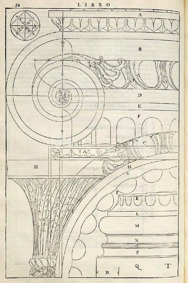 Ordine Ionico, particolari del capitello, con costruzione della voluta, e della base, dal Primo Libro del Palladio, 1570.