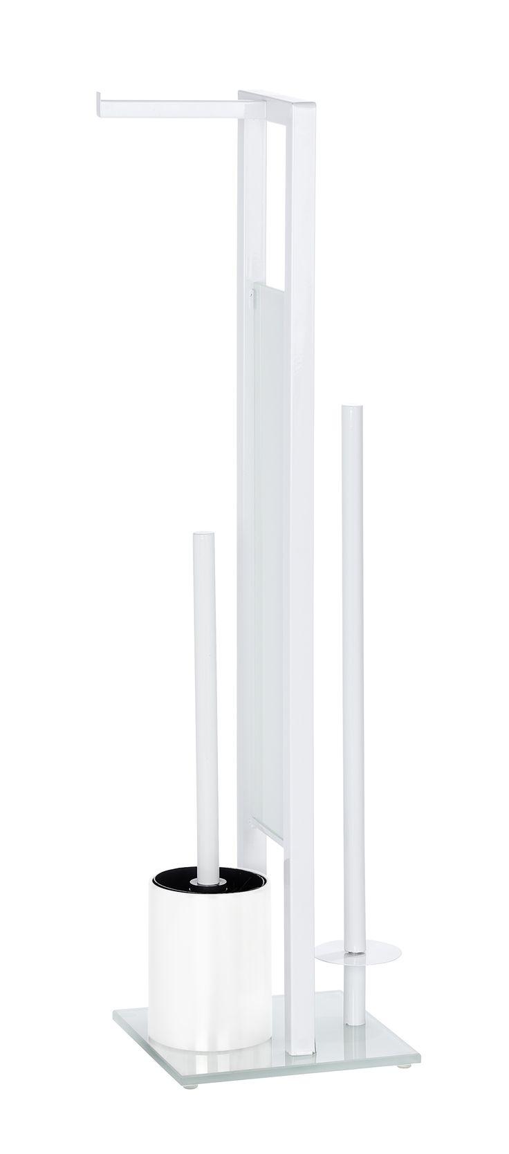WENKO Stand WC-Garnitur Rivalta Weiß  Description: Die Stand WC-Garnitur Rivalta aus Stahl setzt dekorative Design-Akzente im Badezimmer. Sie ist eine praktische 3 in 1 Kombination bestehend aus einem offenen WC-Bürstenhalter einem offenem Toilettenpapierrollenhalter für die sofortige Entnahme und einem separaten Ersatzrollenhalter für die Aufbewahrung von bis zu 3 weiteren Rollen. Die schöne weiße Sicherheits-Glasplatte garantiert einen sicheren Stand der WC-Garnitur. Im Lieferumfang ist…