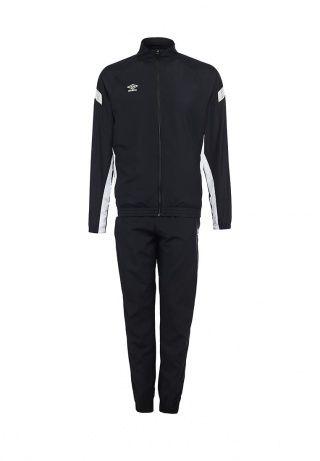 Спортивный костюм от Umbro выполнен из плотной непромокаемой ткани черного цвета с тонкой сетчатой подкладкой. Комплект состоит из куртки и брюк. Детали: на брюках - резинка на поясе и манжетах, молнии на нижнем крае, два кармана спереди, на куртке - застежка-молния, высокий воротник, рукава-реглан, резинки на манжетах и нижнем крае, два кармана на молниях, белые вставки на боковых швах. http://j.mp/1rEVDdp
