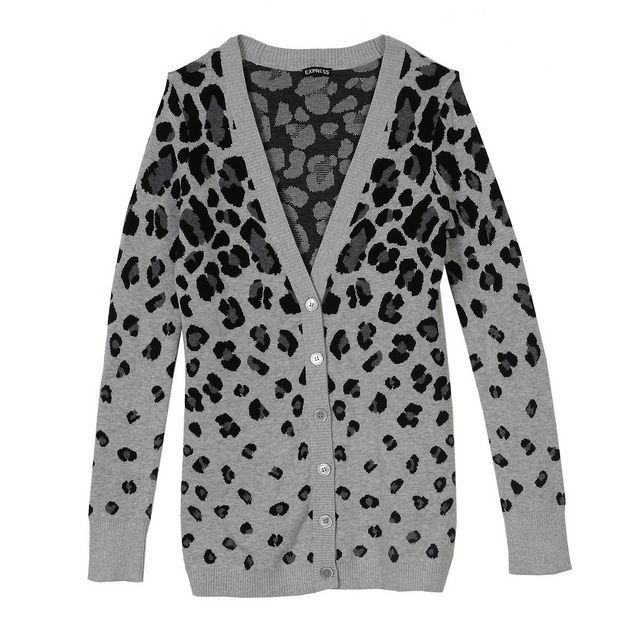 EXPRESS FALL 2013 PIN TO WIN #CONTEST #cardigan #leopard #grey #print #style #shopping #fashion