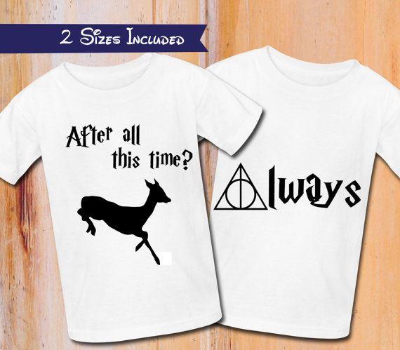 ¿Harry Potter camiseta después de todo este tiempo? siempre! Plancha para imprimir en transferDigital descargar, harry potter y las reliquias de la muerte, parejas