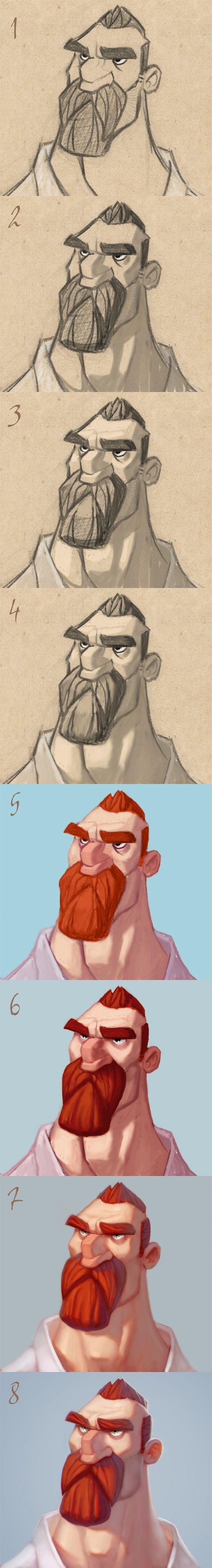 Character Design Tutorial Step By Step : Tutorial on drawing characters digital painting process