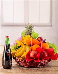 Basket of Fresh Fruit and Monis Juice