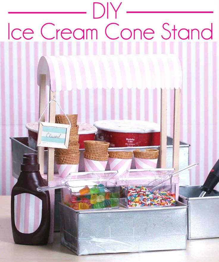 How to Make an Ice Cream Cone Stand - this is a clever way to create an ice cream serving station for a party - via BuzzFeed