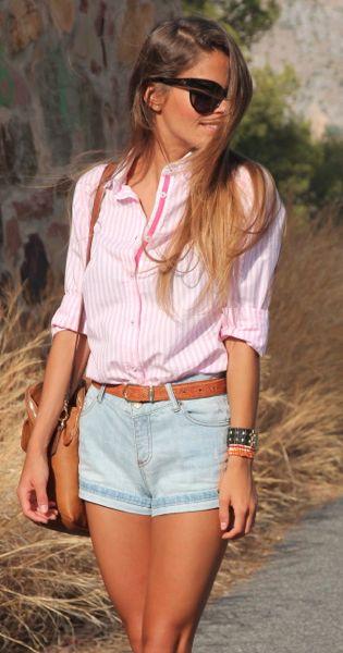 pink stripe oxford shirt + faded denim shorts + brown belt + brown bag + black sunnies + black watch