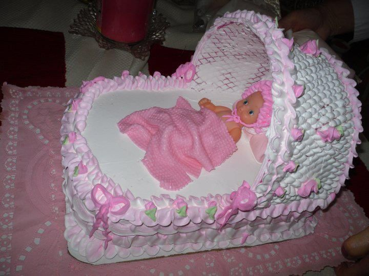 Baby Shower Cake Cradle Baby Girl Pink White Cakes