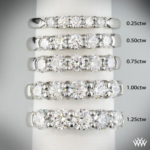 025ctw 14k white gold five stone shared prong diamond wedding ring