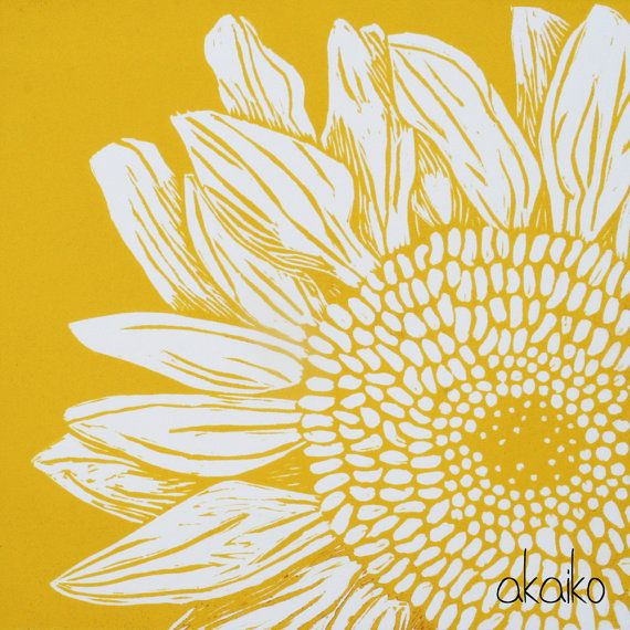 Sunflower Lino Print by akaiko on Etsy