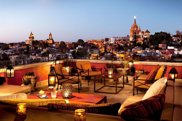 There's no better place to unwind after a day of exploring this magical colonial Mexican city than the tapas bar crowning the luxurious Rosewood San Miguel de Allende hotel. The view of the town's historic district and the magnificent neo-Gothic church, La Parroquia de San Miguel Arcángel, designed by self-taught architect Zeferino Gutiérrez, is unrivaled.rosewoodsanmiguel.comCheck out six new design-savvy restaurants in New York City Don't miss our guide to the most gorgeous new restaurants…
