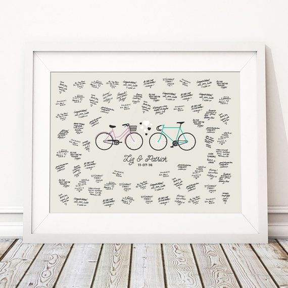 Bike Wedding Guest Book Alternative, Fixed Gear Fixie Unique Wedding Guestbooks, Bicycle Personalised Print - 'Bike' (Unframed)