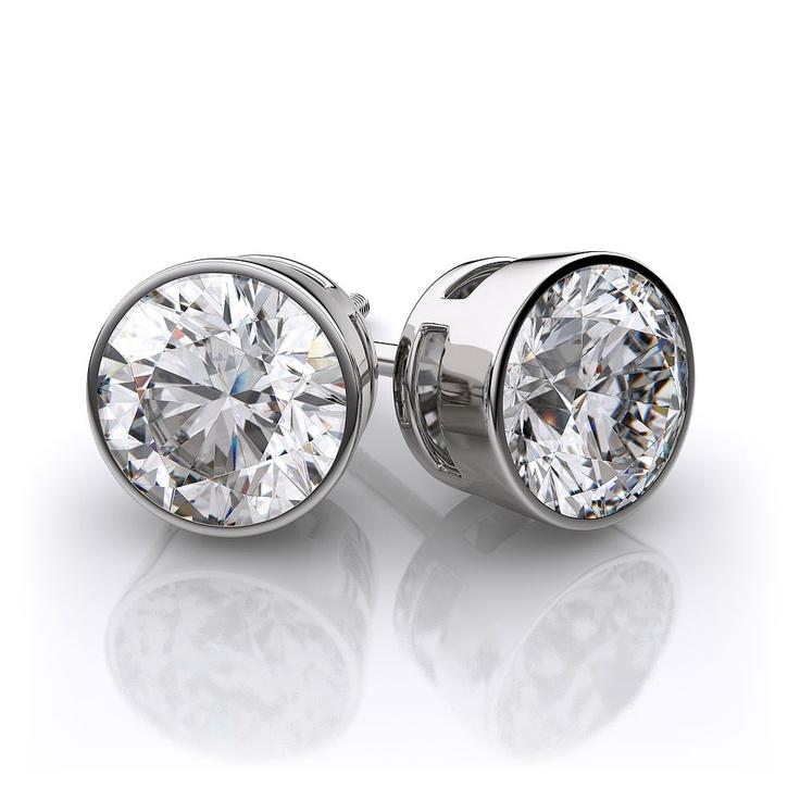 Bezel Set Diamond Earrings in 18k White Gold.