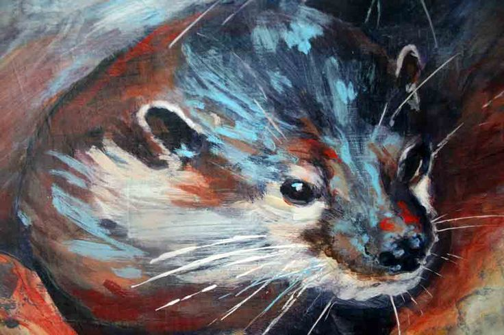"""Partial view of """"Portrait of Otters at Rest""""  Acrylic, view the original at the Art Gallery of Bancroft in July 2016"""