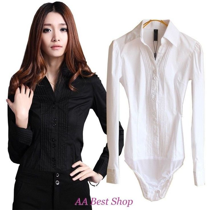 V-Neck Pleated Bodysuit Blouse Top Classic Shirt - S M L XL 2XL in Clothing, Shoes & Accessories | eBay