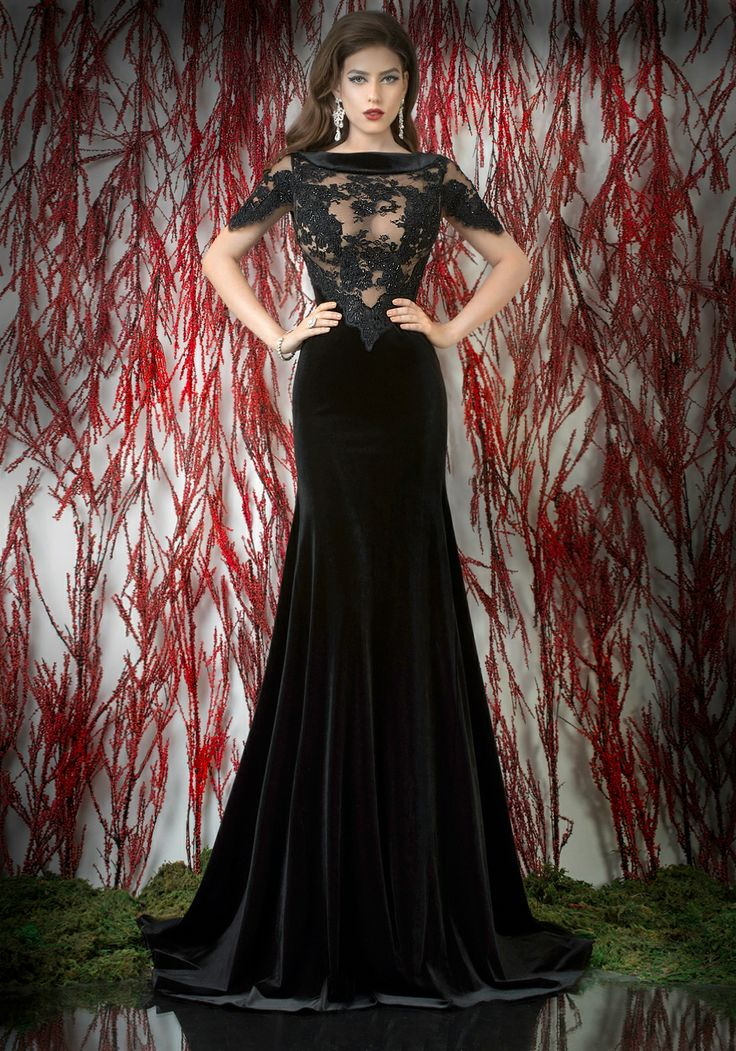 Black velvet and lace mermaid evening dress with short ...
