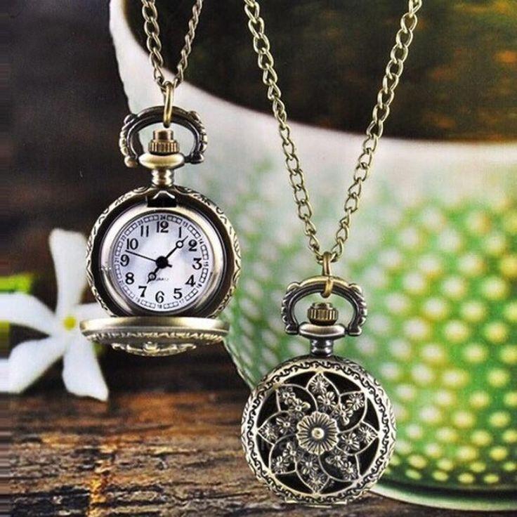 Antique Bronze Lotus Pattern Retro Quartz Pocket Watch with Necklace Watch Women Men Watch