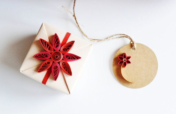 Small Origami Gift Box, Christmas Gift Wrap, Beige Jewelry Gift Box with Red Floral Quilling Ornament