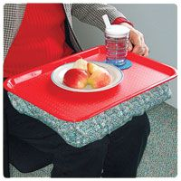 Bean Bag Dinner Tray combines all the comfort of bean bag lap tray and lap desk. It is attached with a low vision red plastic tray. In case of spills, the tray can be simply unhooked (hook and loop) from the bean bag for easy cleanup.
