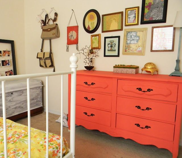 Pretty Simple Things: Coral dresser (coral crescent by valspar)
