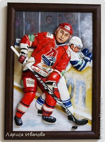 Картина панно рисунок Мастер-класс Лепка Хоккеист мастер-класс Тесто соленое фото 1