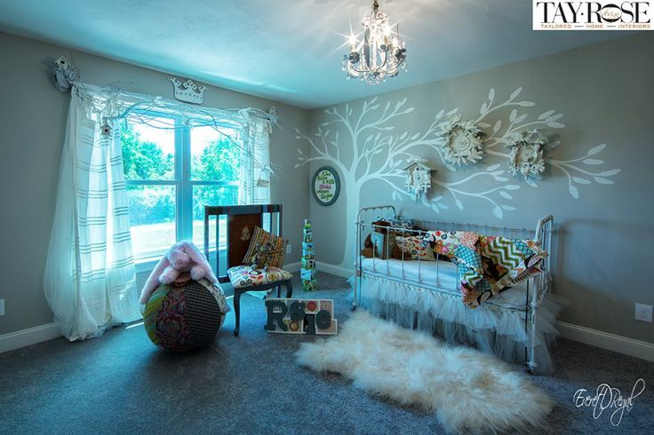 Nursery I designed for the Parade of Homes 2014, old cuckoo clocks I painted with mica glitter flakes, and I made the crib chair from an old crib found with chalk board on back. www.tayrose.com crib,quilt,pillows from 1829 Farmhouse