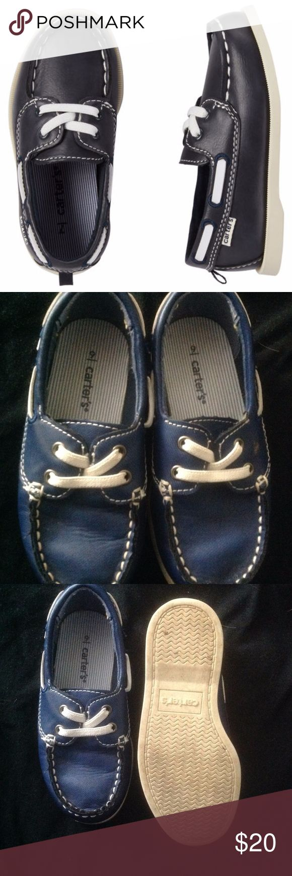 Blue Slip-on Boat Shoes Carter's navy blue boat shoes size 9. Worn once. Equipped with padded insoles and contrasting details, Padded insole, Elastic laces Carter's Shoes