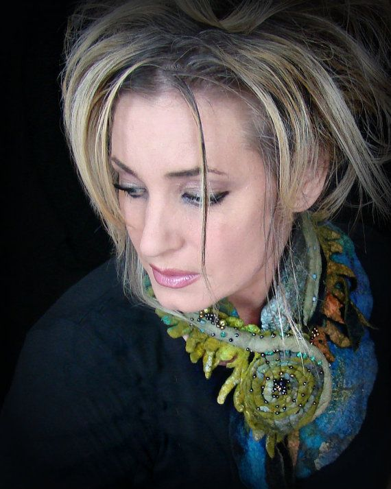 Felted Merino Wool Scarf with beaded glass accents by TonjaSell, $75.00