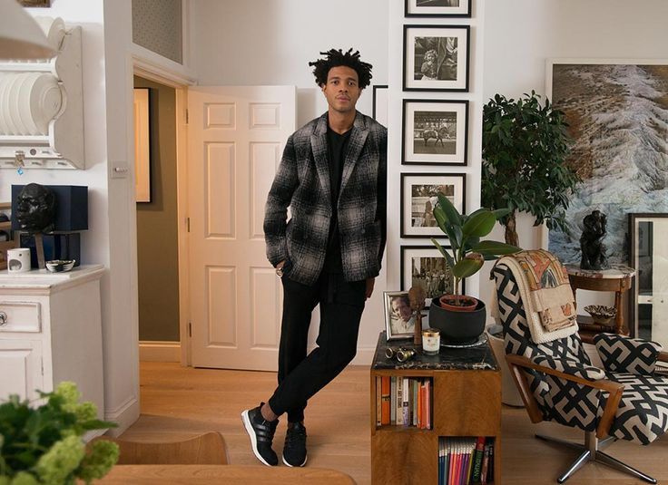 Menswear designer Charlie Casely-Hayford stands in his Notting Hill home