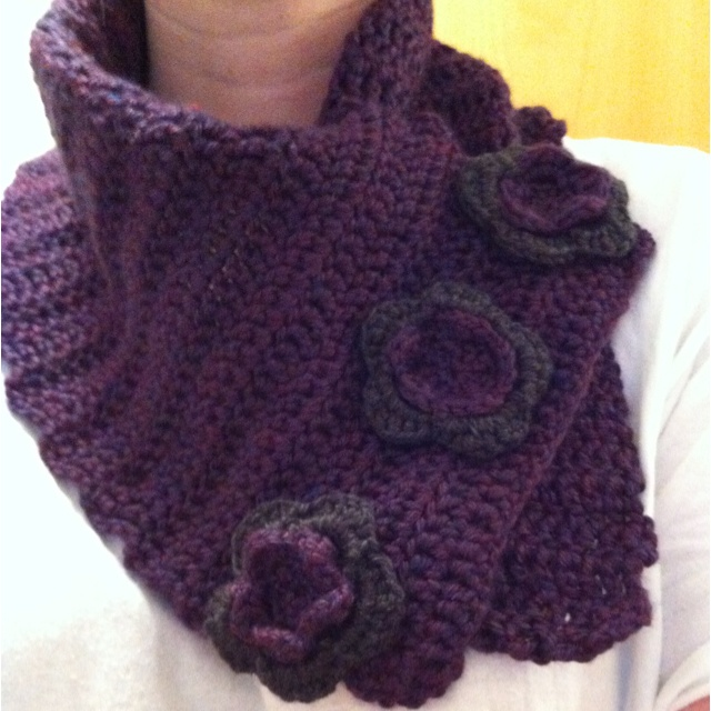 Crochet cowl scarf with flower buttons :)... My latest creation!
