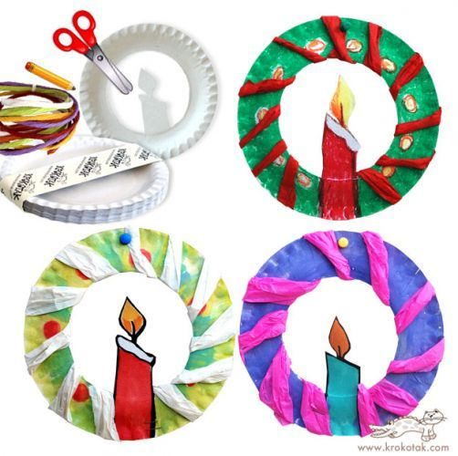 Tissue and paper plate Christmas candles