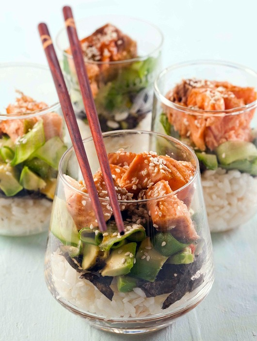 Sushi Trifle Salad:  Easy, Elegant and a Delicious idea for New Years Eve!       Here's how: Start by layering cooked sushi rice (2 cups) Crumble or cut (2) Nori sheets over the rice. Add (1) cubed avocado.  Add (1) cucumber ribbons. Top with (1/2 cup) pieces of salmon. Sprinkle with dressing (1/2 cup wasabi & 1/2 cup soy sauce, mixed).  And garnish with sesame seeds.