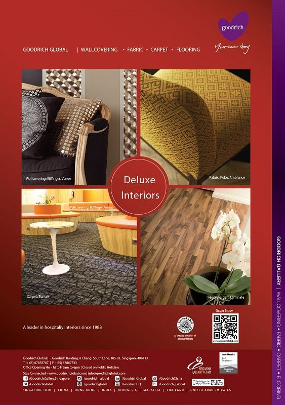 A Goodrich Global advertisement featured in Business World International Feature, 2015. Deluxe Interiors by Goodrich Global, specializing wallcovering, fabric, flooring and carpet. A leader in hospitality interiors since 1983. Wallcovering: Eijffinger, Venue Fabric: Kobe, Ambiance Carpet: Tuntex Flooring: geff, Laminate