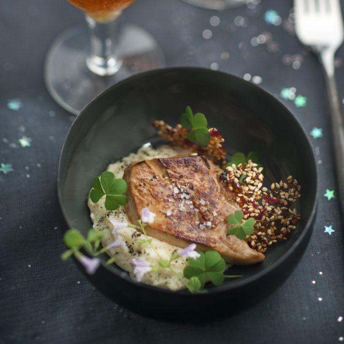 Foie gras poêlé et purée de topinambour