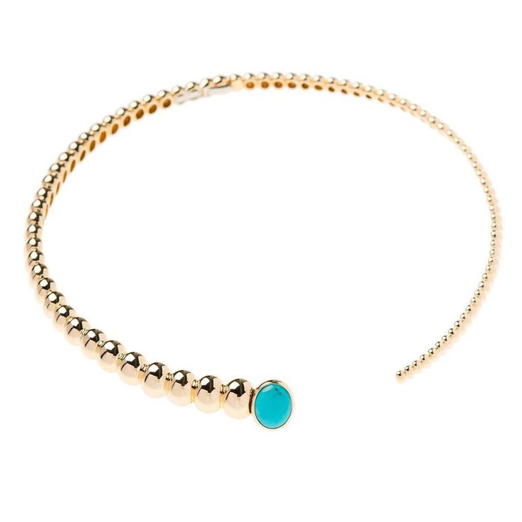 Find out more Nikos Koulis Spectrum torque choker in yellow gold and turquoise (€9,950). See more: http://www.thejewelleryeditor.com/jewellery/torque-jewellery-jewelry-necklaces-bracelets/ #jewelry #modern