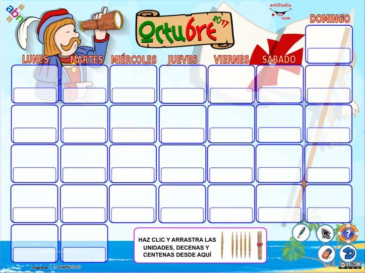 Calendario octubre con palillos para la Pizarra Digital Interactiva - Actiludis
