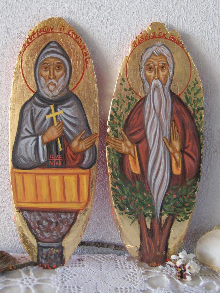 St Symeon the Elder, the stylite a Syrian Saint and St David from Thessalonica the Tree Dweller (dendrite)- An older icon that I ve decided to study in two slices of wood - One of the things that I love on orthodox iconography its variety in themes;a saint that has occupied a pillar (stylite) and a saint that has occupied an almond tree (dendrite) - versions of Sainthood, ascetism and orthodox Christianity