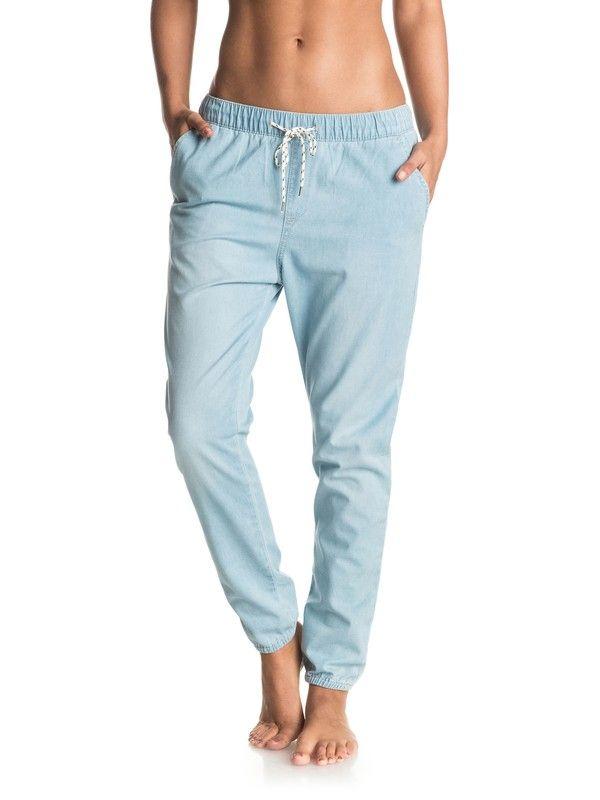 Roxy Women's Easy Beachy Denim Pants, Light Blue, L