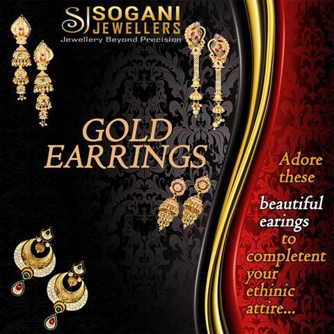 #Adore_Beautiful_Gold_Earnings_To_Complete_Your_Ethnic_Attire.  Gold earrings exclusive collection by Sogani Jewellers which includes gold hoop earrings, gold ear studs, stylish gold earrings and much more is now available. #Visit_Our_Store #Sogani_Jewellers  C-19, Vaishali Marg, Vaishali Nagar Jaipur. Call- +919799809156, 0141-4024656. #Shop_Online www.soganijewellers4u.com