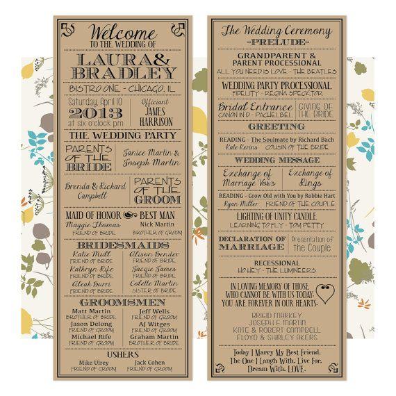 Printable Wedding Programs. Look great on Kraft Paper!