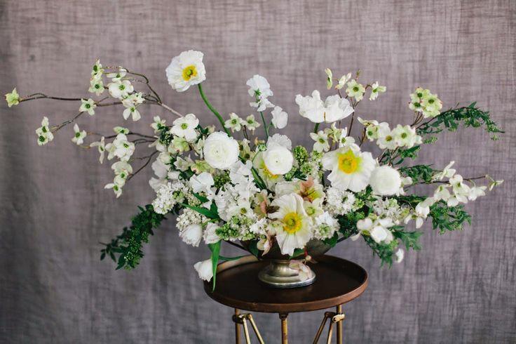 Sarah Winward white flowers compote pedestal vase whimsical garden style