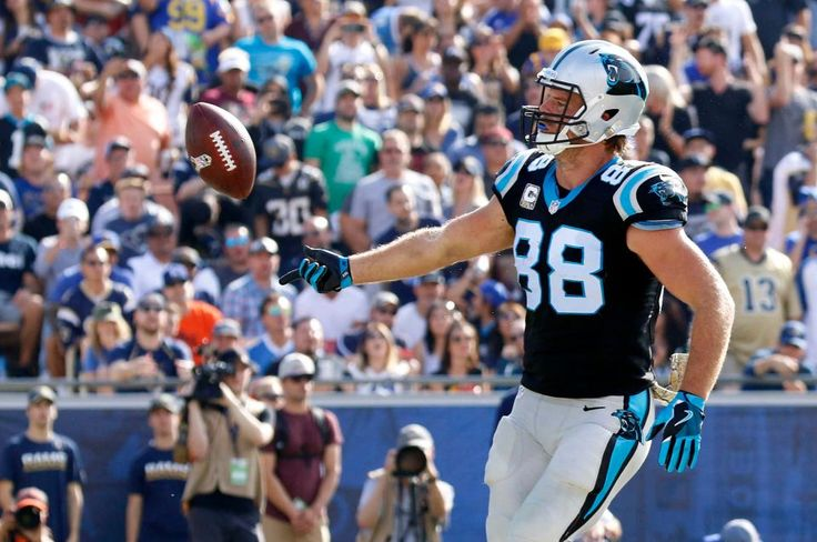 Panthers vs. Rams:  13-10, Panthers  -     Carolina Panthers tight end Greg Olsen tosses the ball after scoring a touchdown during the first half of an NFL football game against the Los Angeles Rams, Sunday, Nov. 6, 2016, in Los Angeles.
