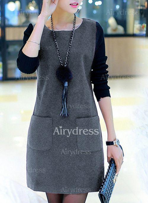 Dress - $14.40 - Solid Pockets Sweatershirt Long Sleeve A-line Dress (1955229103)