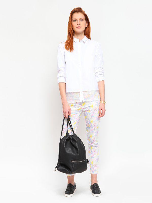 koszula długi rękaw damska gładka biała - TKL0213 TROLL