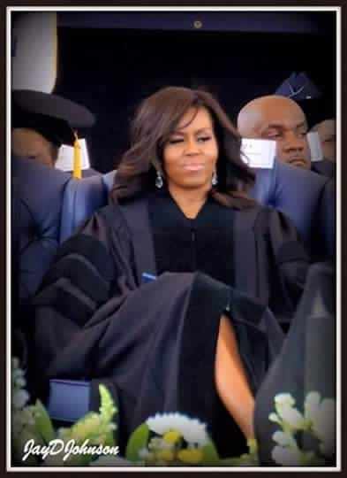 Receiving an Honorary Doctorate from Jackson State University. First Lady Michelle Obama .