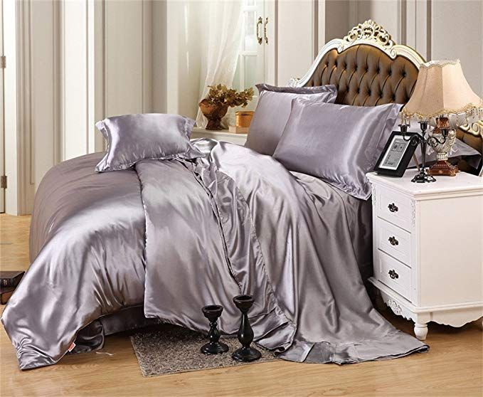 10 Colors Faux Silk Fitted Bed Sheet Comfortable Soft Luxury Bedding Cover Set
