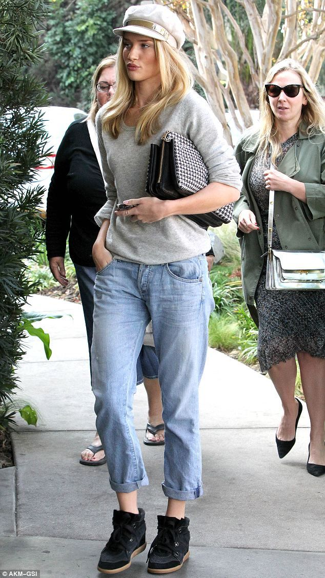 Rosie Huntington-Whiteley.. Equipment sweater, Citizens of Humanity 'Dylan' Loose Fit Jeans with Isabel Marant Blossom ponyskin and suede trainers..