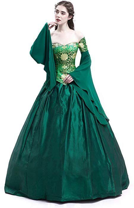 ff4b4e89119d D-RoseBlooming Green Vintage Renaissance Wedding Dress Gothic Victorian Era Ball  Gowns (X-