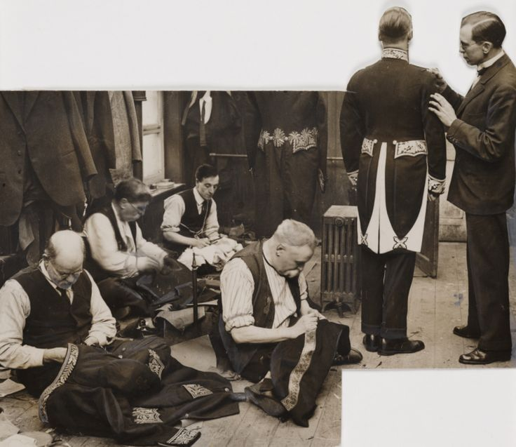 Creator:    Unknown photographer  Date:    1930-04  Description:    A photograph showing tailors sewing military dress uniforms, taken in April 1930 by an unknown photographer for the Daily Herald.