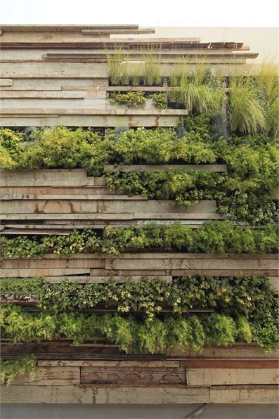 """(designed by Veronica Crousse) a """"mural of recycled wooden planks fitted together like a haphazard puzzle with several kinds of plant species sprouting from the cracks and seams."""""""