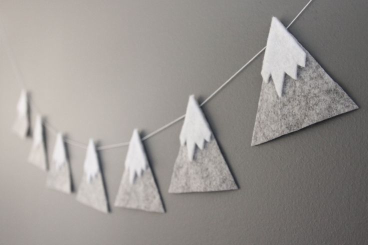 Felt Mountain Snowy Peaks Garland Baby Nursery and Childrens Decor Baby Shower Gift