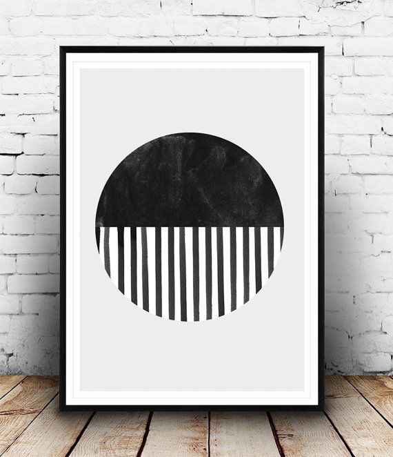 Watercolor art, Minimalist poster, Black and white, circle print, Scandinavian design, Striped art, home decor, Simple art,  Wall art,